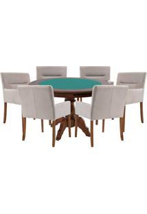 Mesa De Jogos Carteado Redonda Montreal Tampo Reversível Imbuia Com 6 Cadeiras Vicenza Nude - Gran Belo