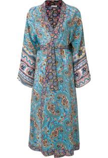 Anjuna Kimono De Seda Com Estampa Floral - Azul