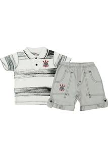 Conjunto Polo Shorts Meia Malha Oxford Menino Corinthians Reve Dor - 6 Anos - Masculino
