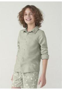 Camisa Infantil Hering Linho Masculina - Masculino-Verde