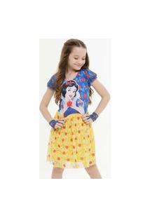 Vestido Infantil Branca De Neve Brinde Disney Tam 4 A 10