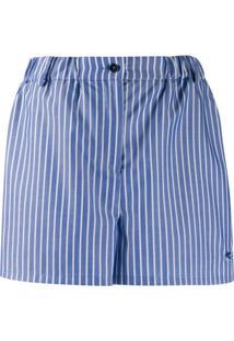 Etro Short Risca De Giz Com Logo Bordado - Azul