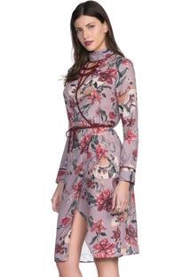 Vestido Amaro Crepe Leve Transpassado - Feminino