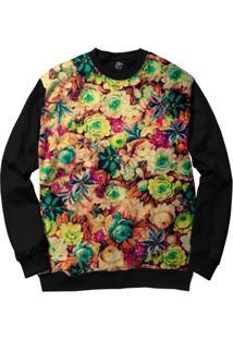 Blusa Bsc Flowers Full Print - Masculino-Preto