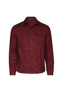 Camisas Khelf Camisa Masculina Flanela Sarjada Bolsos Vinho