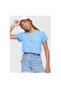 Camiseta Cropped Volcom Solid Azul