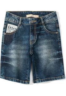 Bermuda Jeans Azul Menino