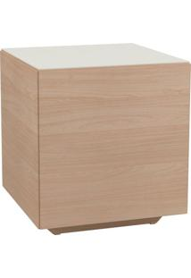 Mesa Lateral Cubo Com Vidro Off White Cor Natural - 51761 - Sun House