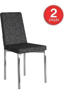 Cadeira-399 -Cromada-02 Unidades-Tecil/Fantasia Preto-Carraro