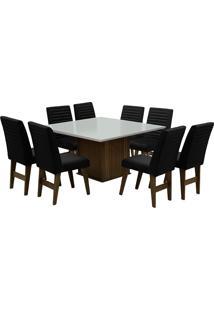 Conjunto De Mesa Para Sala De Jantar Com 8 Cadeiras Creta-Dobue - Castanho / Branco Off / Preto Bord