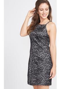 Vestido Animal Print Estampa Cobra Costas Cruzadas - Feminino