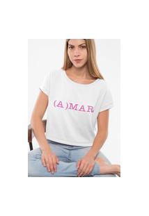 Camiseta Feminina Cropped Amar