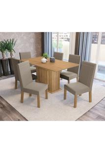 Conjunto De Mesa De Jantar Com 6 Cadeiras Acerola Suede Cinza E Freijó