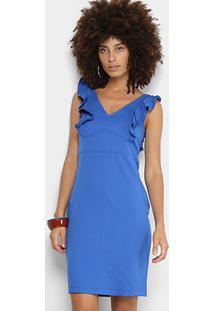e97961da2 Vestido Forwhy Tubinho Curto Gola V Babados - Feminino-Azul