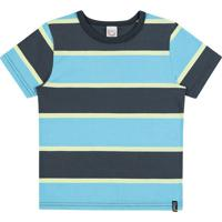 15bb9235744a9 Camiseta Infantil Boca Grande Listrada Masculino - Masculino-Preto+Azul