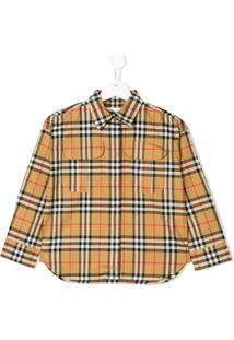 Burberry Kids Camisa 'Haymarket' Xadrez - Neutro