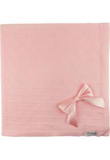 Manta De Tricot Michelle Para Bebê Rosa Risquinhos Com Laços
