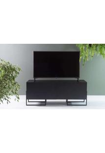 Rack Preto Para Tv Estilo Industrial 2 Portas Pretas E Pés De Metal Crosby 123X43,6X48,5 Cm