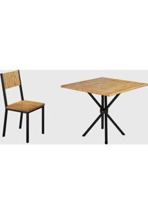 Conjunto 4 Cadeiras E Tampo Eucalipto Preto Fosco Madmelos - Tricae