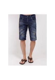 Bermuda Jeans Destroyed Zune Masculina Azul