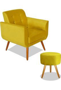 Poltrona Decorativa Agata Com Puff Redondo Pã©S Madeira Suede Amarelo - Unico - Dafiti