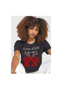 Camiseta John John Logo Veludo Preta