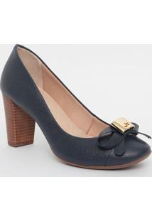 Sapato Em Couro Com Recortes & Tag- Azul Marinho- Sajorge Bischoff