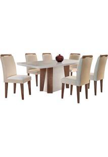Conjunto De Mesa Para Sala De Jantar Tampo De Vidro Helena Com 6 Cadeiras Athenas-Rufato - Veludo Creme / Off White / Café