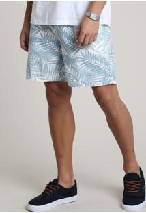 Bermuda Masculina Estampada De Folhagem Com Bolsos Off White