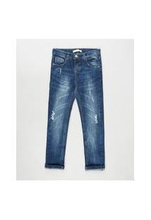 Calça Jeans Infantil Reta Com Rasgos Azul Escuro