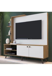 Estante Para Tv Até 52 Polegadas Es530 2 Portas Naturalle/Branco - Decibal Móveis