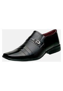 Sapato Social Bico Quadrado Estilo Shoes Db833 Moderno Preto
