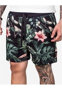 Bermuda Hermoso Compadre De Moletom Flower Ul - Masculino-Preto