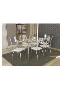 Conjunto Mesa Reno Com 6 Cadeiras Munique Branco E Cromado Kappesberg Crome