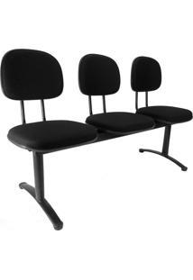 Cadeira Longarina 3 Lugares Preta Secretária