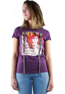 T-Shirt Multi Ponto Denim Estampada Love Violeta