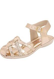 Sandália Infantil Plis Calçados Charminho Feminina - Feminino-Dourado