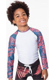 Camiseta Infantil Raglan Folhagem Reserva Mini Masculina - Masculino-Branco+Azul