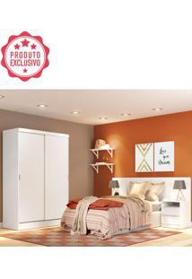 Dormitório Completo Branco C/ Roupeiro Cabeceira E Criado Mudo Oslo Madesa
