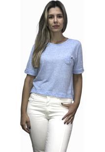 Camiseta Hifen Com Bolso Azul