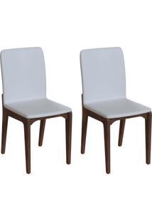 Conjunto Com 2 Cadeiras Darwin Branco E Café
