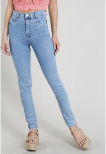 Calça Jeans Feminina Sawary Hot Pant Super Skinny Azul Claro