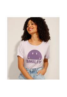 Camiseta Smiley Com Fenda Manga Curta Decote Redondo Lilás