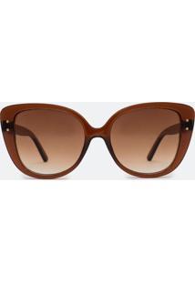 Óculos De Sol Feminino Gateado Fume Degrade