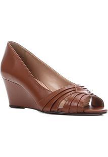 Peep Toe Couro Shoestock Anabela Drapeado Salto Médio - Feminino-Marrom