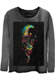 Camiseta Feminina Estonada Manga Longa Skull Colors