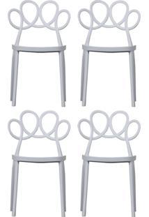 Kit 04 Cadeiras Decorativas Para Cozinha Laço Branco - Gran Belo