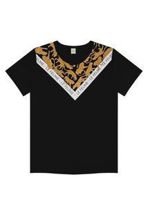 T- Shirt Feminina Detalhada Rovitex Preto