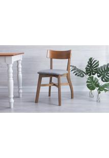 Cadeira Jantar Estofada Bella - Amêndoa E Cinza Escuro Tec. B204 - 44X51X82 Cm