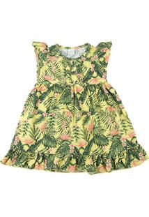 Vestido Infantil Tricoline Ano Zero Estampa Digital Folhagem Amarelo